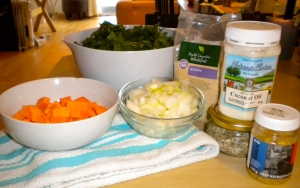 savory spinach & sweet potato saute ingredients